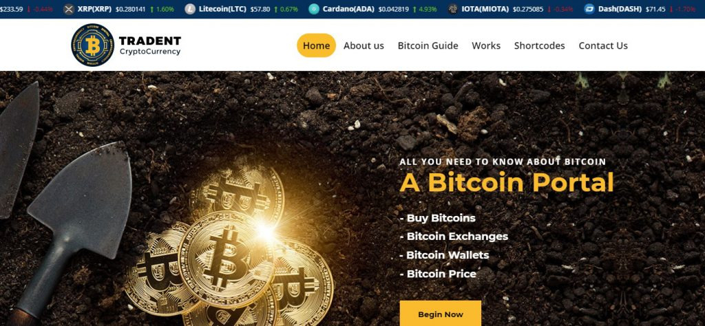 Tradent CryptoCurrency WordPress Theme