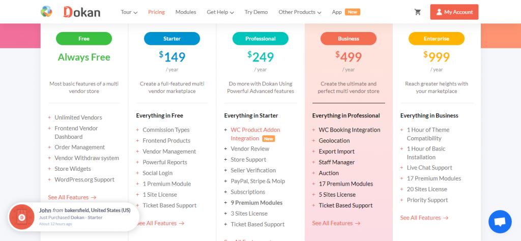 Dokan Marketplace prices
